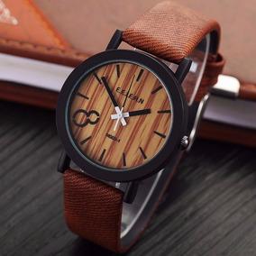 Relógio Feifan Madeira Pulseira De Couro Marrom - M009