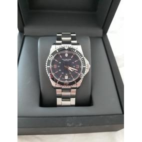 Relógio Victor Inox Feminino, Caixa 34 E Mostrador Azul