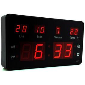 Relogio Led Digital Mesa Hora Data Semana Alarme Bivolt 24cm