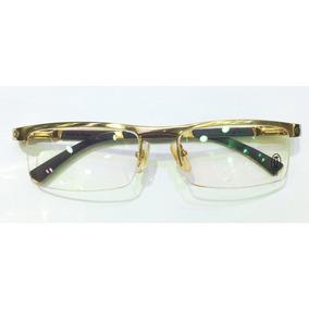 75b6c3050863b Armação Oculos Grau Cartier Dourada Meio Aro Acetato 8100816 ...