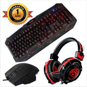 Kit Teclado Mouse Gamer Iluminado Fone Headset Profissional