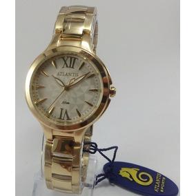 Relógio Atlantis B3433 Dourado Fundo Branco - Novo Envio Já