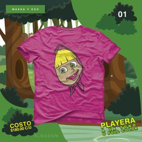 Masha Y Oso Playera Personalizada Para Fiestas Y Cumpleaños
