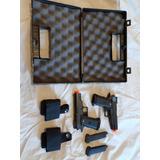 Par Pistola Airsoft Galaxy G10 Full Metal + Coldre + Case