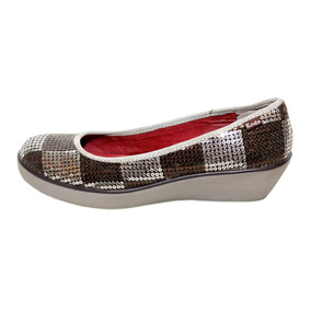 Flats Con Tacon Keds Slip On Cafe Con Brillos Talla 4