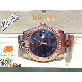 Datejust 36mm Feminino Prata E Rose Most Azul Automático Nv