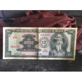 Notas Cédulas C126 10.000 Cruzeiros Santos Dumont Mbc