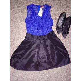 Vestido azul rey y negro
