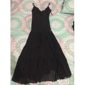 Vestido Negro Largo Groovy Talla Mediana