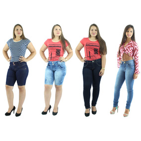 Kit 2 Calças Jeans Feminina + 2 Bermuda Jeans Com Elastano