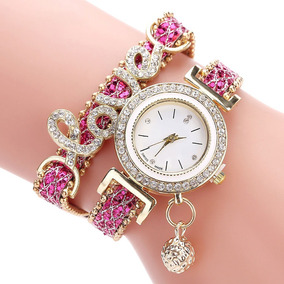Relógio Bracelete Feminino Love Pedras Douradas Strass
