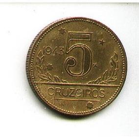 Egoto-v 253-escassa !!! Moeda 5 Cruzeiros 1943 Mapa