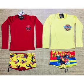 68d76787514c1 Kit Irmãos C 2 Conjuntos Camiseta M.l+ Sunga Proteção Uv50+