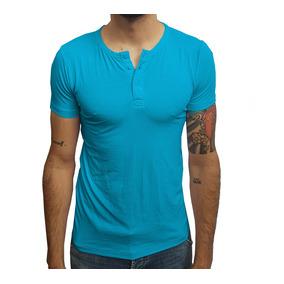 Camiseta Masculina Slim Henley Manga Curta