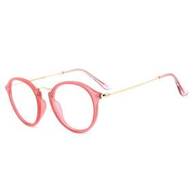 4f43c4b5fcaa4 Armação Redonda De Acetato Para Óculos De Grau - Rosa Escuro