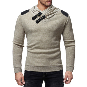 Hombres Contrastar Color Chal Collar Suéter