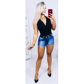 Short Jeans Feminino Plus Size Com Lycra Modelo Curto