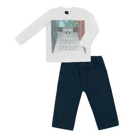 Conjunto Masculino Bebê Camiseta E Calça Skate