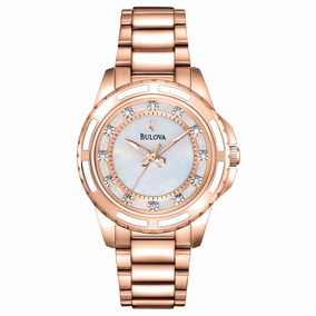 Relógio Bulova Feminino Dourado C/ Diamantes Wb27547z 98p141