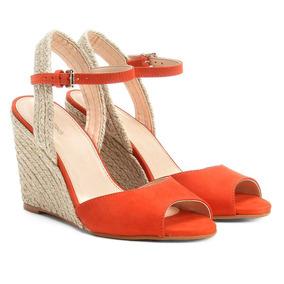 Sandália Anabela Couro Shoestock Corda Feminina