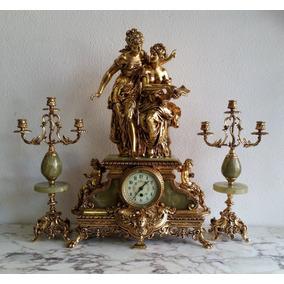 e0b1c3ed42b Relógio Garniture Francês Folheado A Ouro Com 2 Candelabros