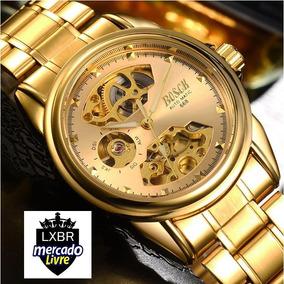 f454e78d0c5 Relogios Esqueletos Automatico Dourado - Relógio Masculino no ...