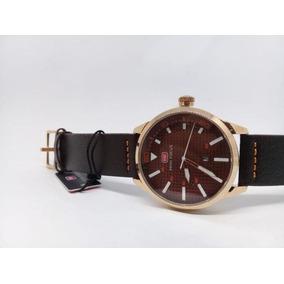 Relógio Masculino Luxo Castanho Dourado Original Analógico