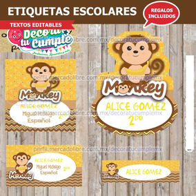 Etiquetas Escolares Monkey Mono Chango Banana L121 033676e7956