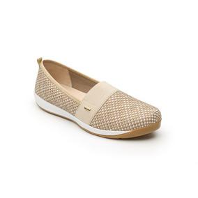 Calzado Dama Mujer Zapato Sneaker En Textil En Beige Comodo