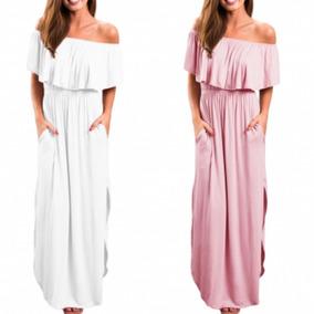 Vestidos Tallas Extras Campesino Blanco Rosa Sin Hombros