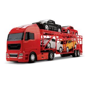 Caminhão Cegonha Diamond Truck + 4 Pickup Cegonheira Roma