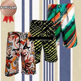 Kit 10 Bermudas (shorts) Masculino Moda Praia De Tactel