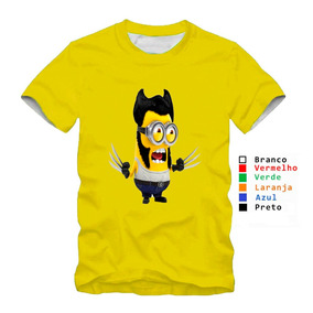 1f998316a7 Camisa Infantil Personalizada Filme Minons Amarela Wolverine