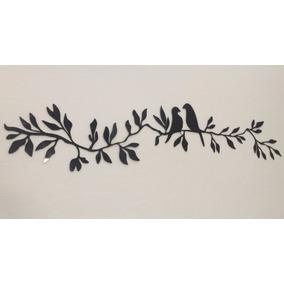 Quadro Decorativo Em Acrílico Pvc Ramagens Folha Com Pássaro
