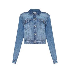 Jaqueta Hering Jeans Cropped Feminina Com Aplicação