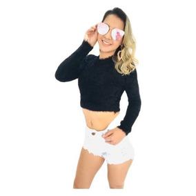 9cdcfbdbf Tecido Felpudo Branco - Camisetas e Blusas Cropped no Mercado Livre ...