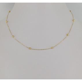 Gargantilha Cartier Bolinhas 40 Cm Ouro 18k Cordão Colar