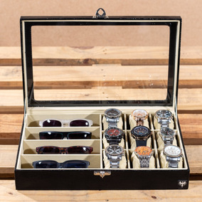 Caixa Estojo Maleta Porta 9 Relógios 4 Óculos Organizar