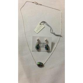 Set Cadena 40cm Y Arete Escarabajo Cristal Swaroski Plata