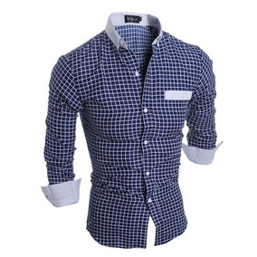 Camisa Social Formal Casual Azul Quadriculada Elegante Moda