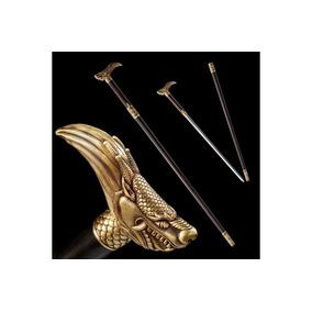 Espada Bengala Samurai Aço Damasco Dragão Dourado Ninja