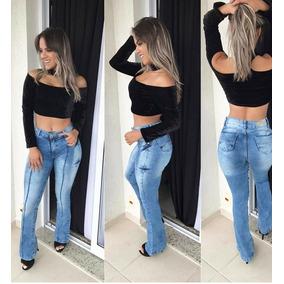 Calça Jeans Roupas Femininas Flare Cintura Alta Com Lycra