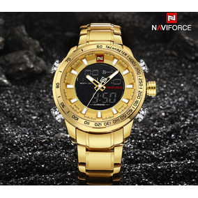 Relógio Masculino Naviforce Dourado Luxo Original