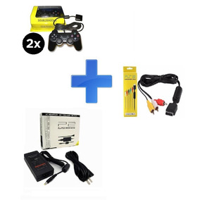 Kit Playstation 2 Ps2 - 2x Controles, Fonte E Cabo Av
