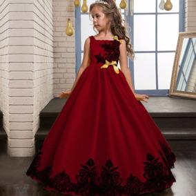 Vestido rojo largo para nina