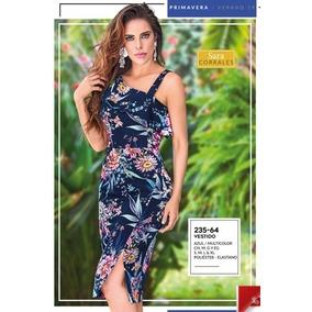 Vestido Elegante Y Sexy Base Negro Floreado Poliester 235-64