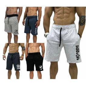 5 Bermuda Moletom Slim Fit Shorts Original Mxd Caveira Trein