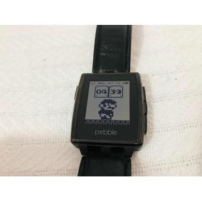 Smart Watch Pebble Steel Negro Piel Genuina 401b