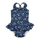 Traje De Baño Con Pañal Incorporado Tanksuit 1pc Azul Flor