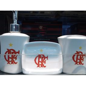 Jogo De Porta Sabonete 3 Peças Porcelana Flamengo 44cc84f5fa698